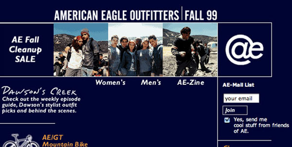 Сайт American Eagle Outfitters, 1998 год